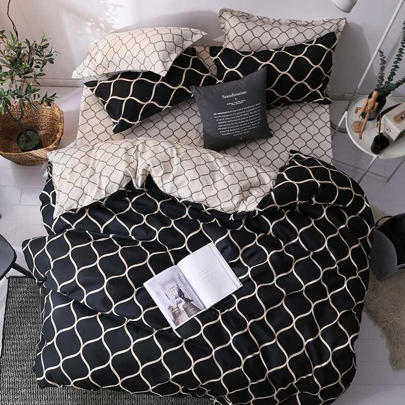 Accueil Textile moderne Géométrique Imprimé Literie couette Noir Couverture Set King / Reine / Europe / Etats-Unis / Australie Quilt / Couverture Ensembles de couverture