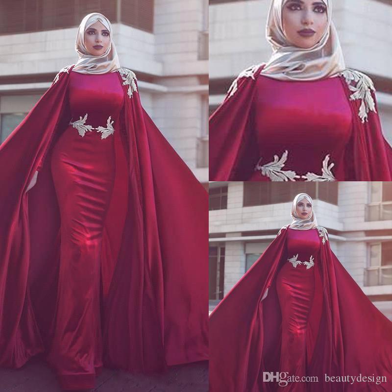 vesti de caftano abaya dubai O del collo con l'involucro maniche lunghe Mermaid convenzionale lungo di sera del partito di celebrità raso Prom Dresses Gowns