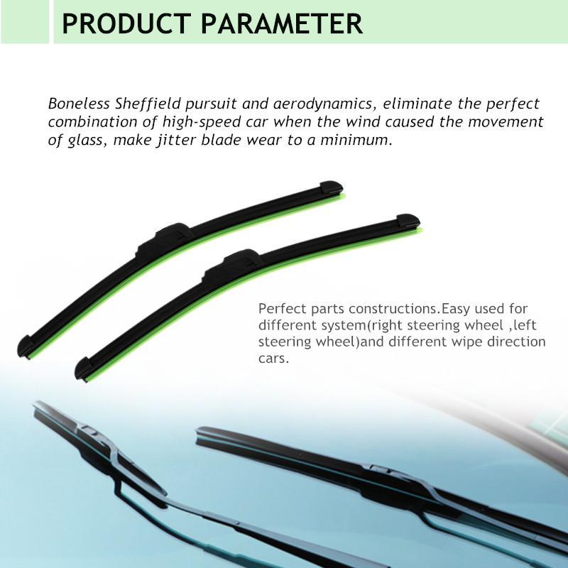 New Universal U-tipo do pára-brisa sem moldura Bracketless Borracha Car suave Wiper Blade 14 '' - 26 '' limpa pára-brisas suaves