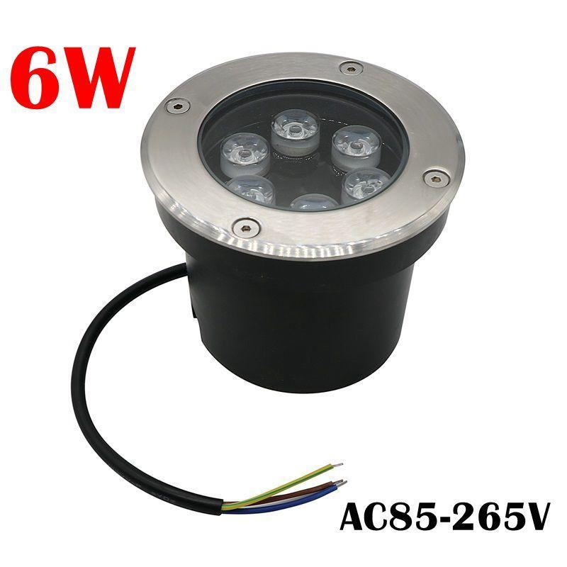 6W LED Underground Light IP67 Buried Recessed Floor Outdoor LED Buried Light Spotlight AC85-265V Free Ship