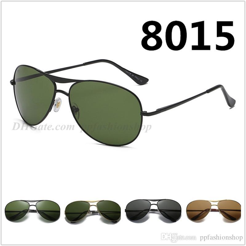 Marken-Sonnenbrilletrend der Metallart und weise 8015 klassische Gläser Glasobjektiv UV400 Sonnenbrille 4 färbt Brillen freies Verschiffen