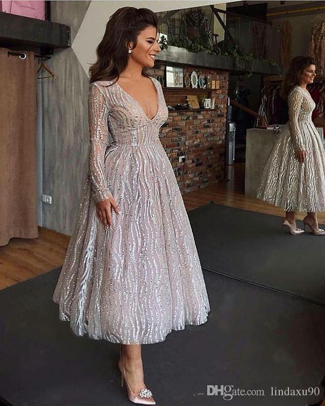 Платья для выпускного с блестками и блестками 2019 Вечернее платье с длинными рукавами и V-образным вырезом из бисера африканских бисера Вечернее платье большого размера
