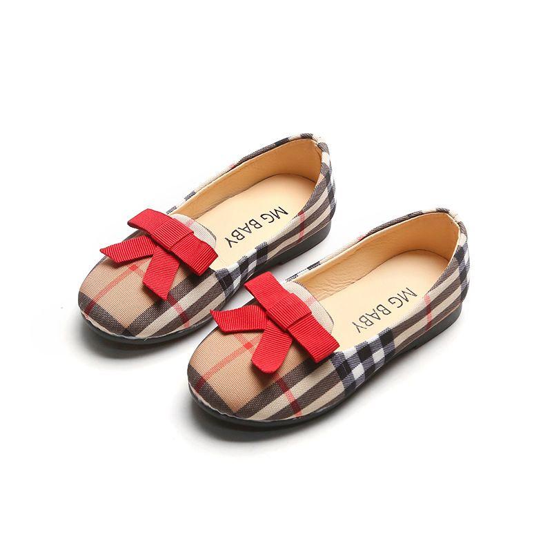 2020 nuovi bambini di modo della principessa scarpe arco bambine scarpe basse plaid bambino bambini scarpe casual di alta qualità mocassini panno infantile