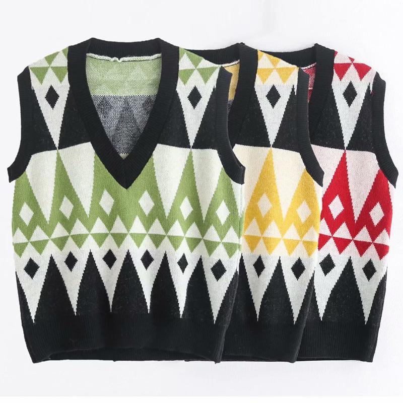 RR Casual Pescoço V Camisolas Mulheres Moda Painéis Argyle camisola de malha mulheres elegantes mangas feminina blusas senhoras LAD