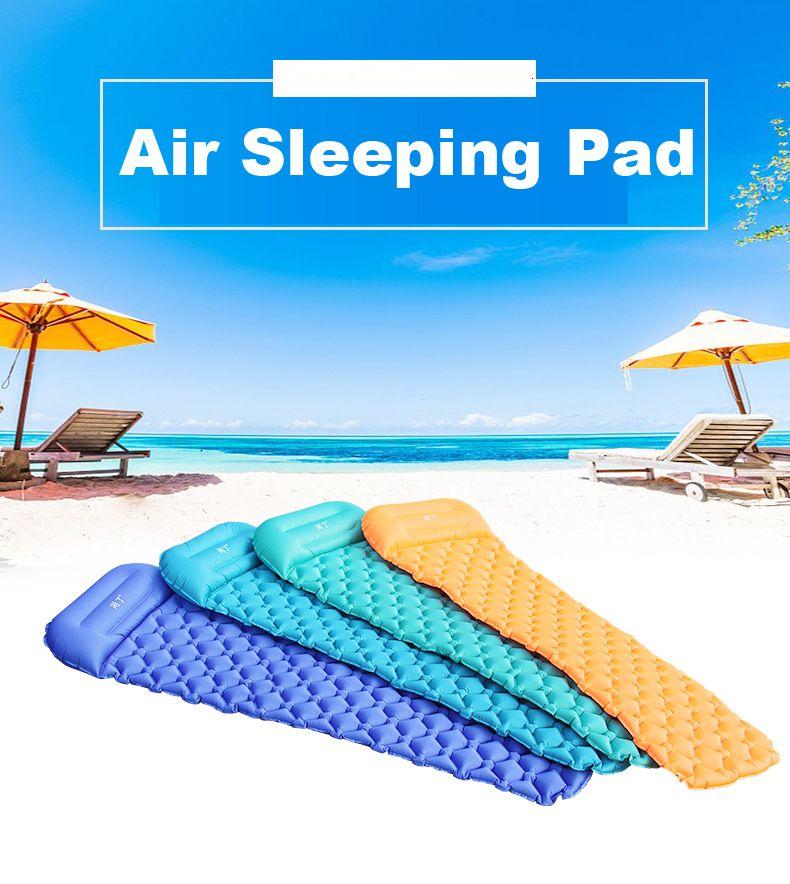 خفيفة الهواء النوم سرير قابل للنفخ التخييم حصيرة مع وسادة حصيرة الشاطئ نزهة مفرش في الهواء الطلق المشي لمسافات طويلة على الظهر السفر VT0166