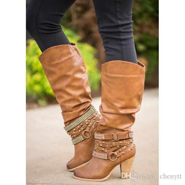 الأحذية النسائية في عام 2020، وحجم كبير الأحذية الأوروبية والأمريكية الجديدة، الكعب العالي، الكعب سميك، أحذية عالية جولة رئيس حجر الراين