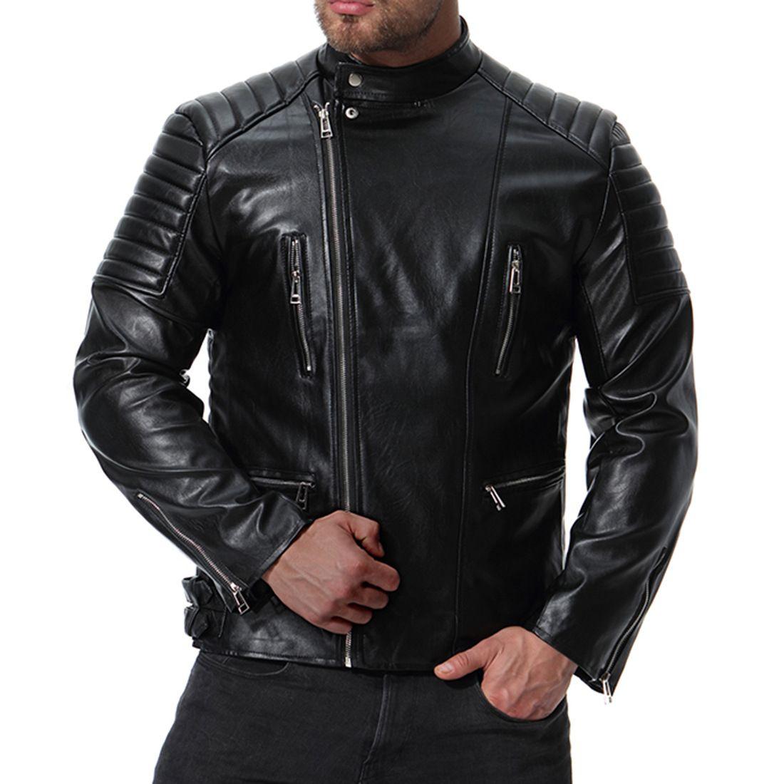 MarKyi 2018 autunno moda colletto alla coreana giacca in pelle da moto uomo plus size 5xl jaqueta de couro motoqueiro T190903