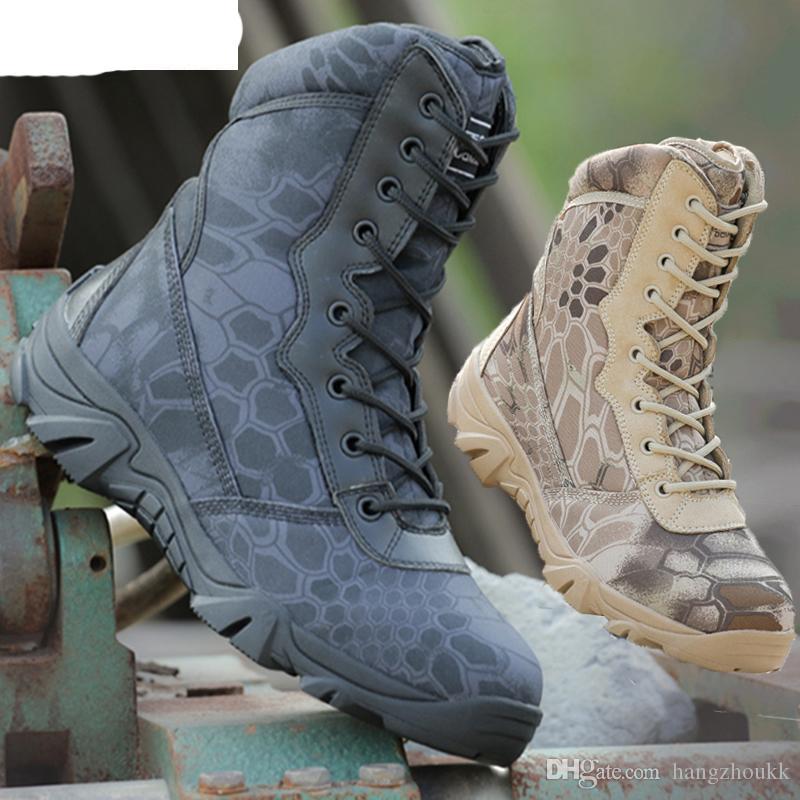 Homens Botas Do Exército Tático Militar Outono Rodada Toe Com Zíper de Couro de Viagem Deserto Casuais Sapatos Masculinos Combate Ankle Boot Mens