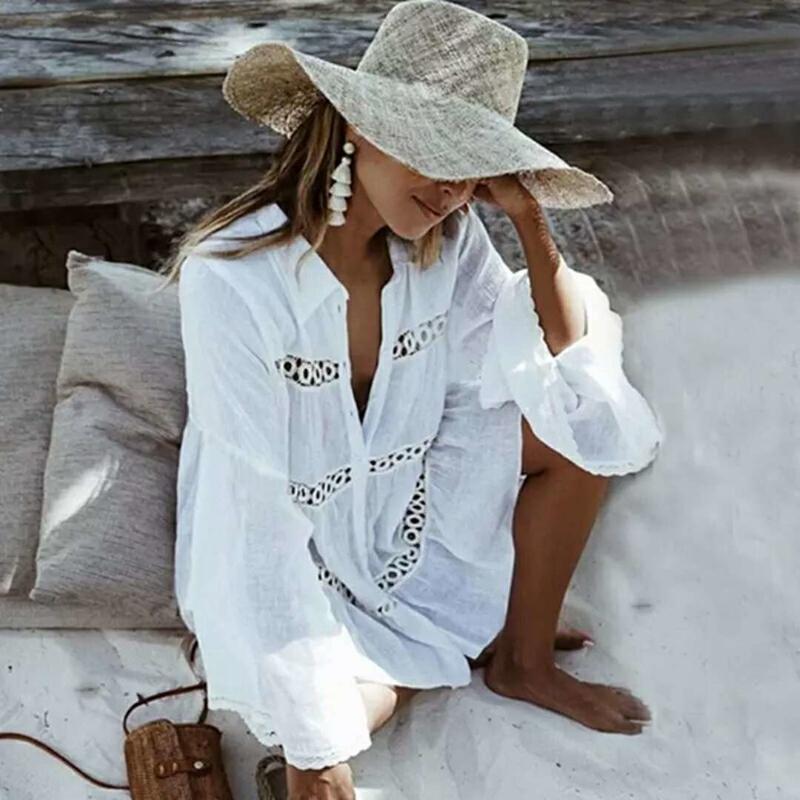 Sommer Hohl Glocke 3/4 Hülsen-Revers-Shirt Frauen-Strand-Sonnenschutz Einreiher Mantel Swimwear Vertuschung-lose Tops