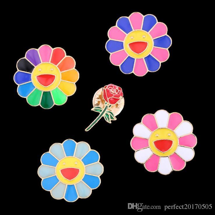 Murakami japonais Takashi sept couleurs tournesol dégoulinant d'huile visage en métal épingles de revers bande dessinée Badge Bijoux Pour Enfant