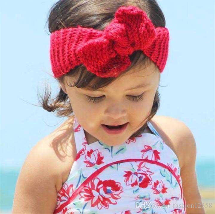 32 Couleur Nouveau-né Tricot Crochet Bowknot Élastique Turban Bandeau Bébé Enfants Headwrap Chapeaux Adulte Chid Cheveux Accessoires