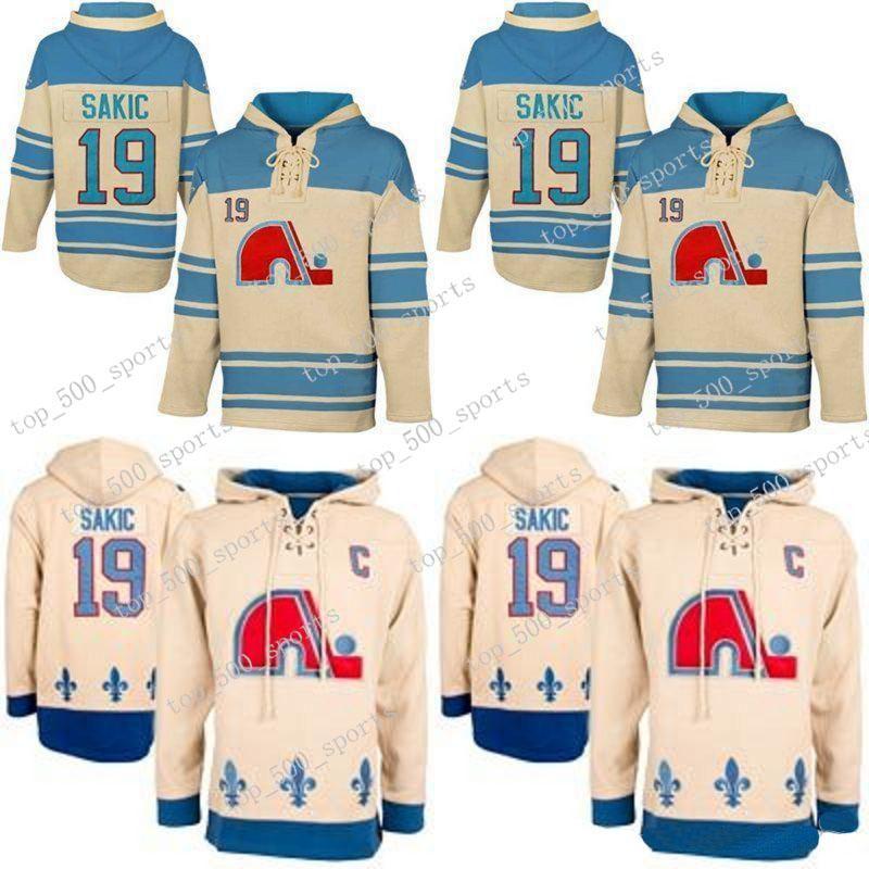 Herren Hoodies 19 Joe Sakic Jersey Quebec Nordiques Hockey Jerseys Beige Joe Sakic Hoodies Sweatshirts Kostenloser Versand