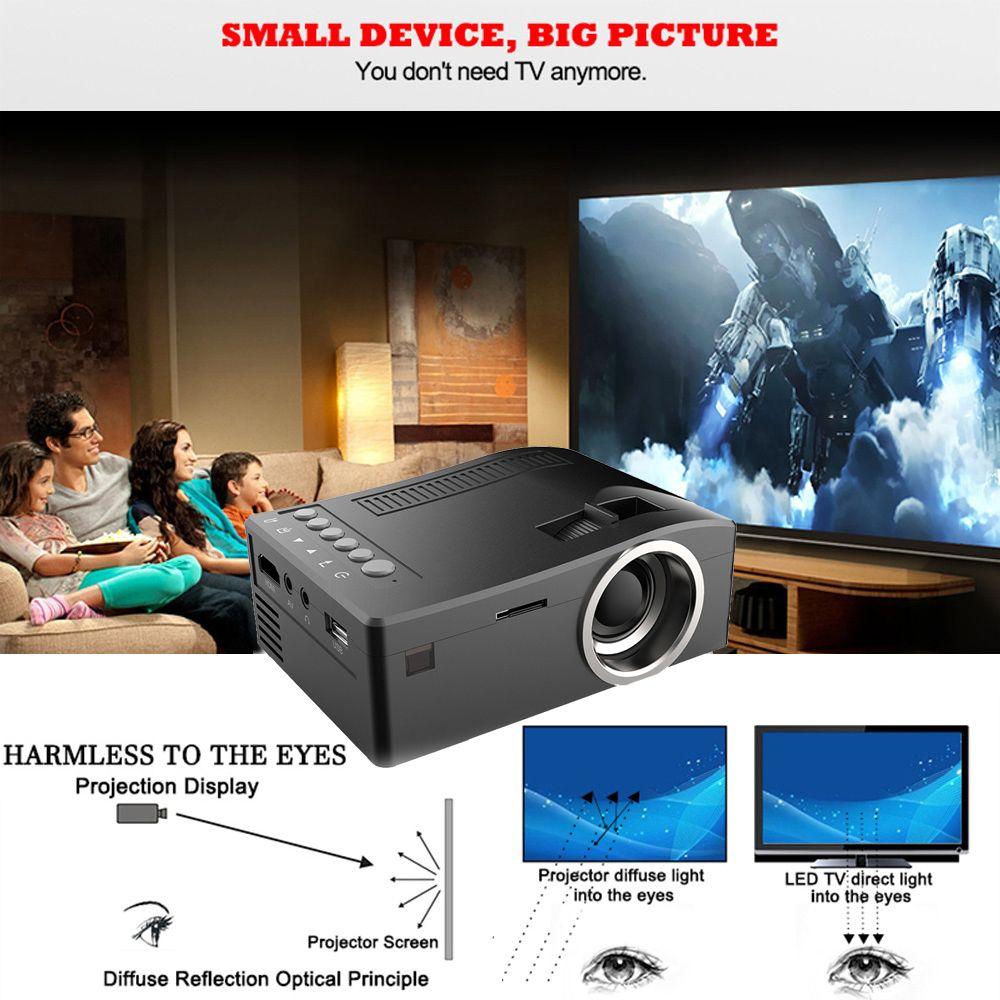 Kit de proyector holográfico UNIC UC18 Mini Proyector portátil con tarjeta HDMI USB TF Cable AV Proyector LED para cine en casa Cine