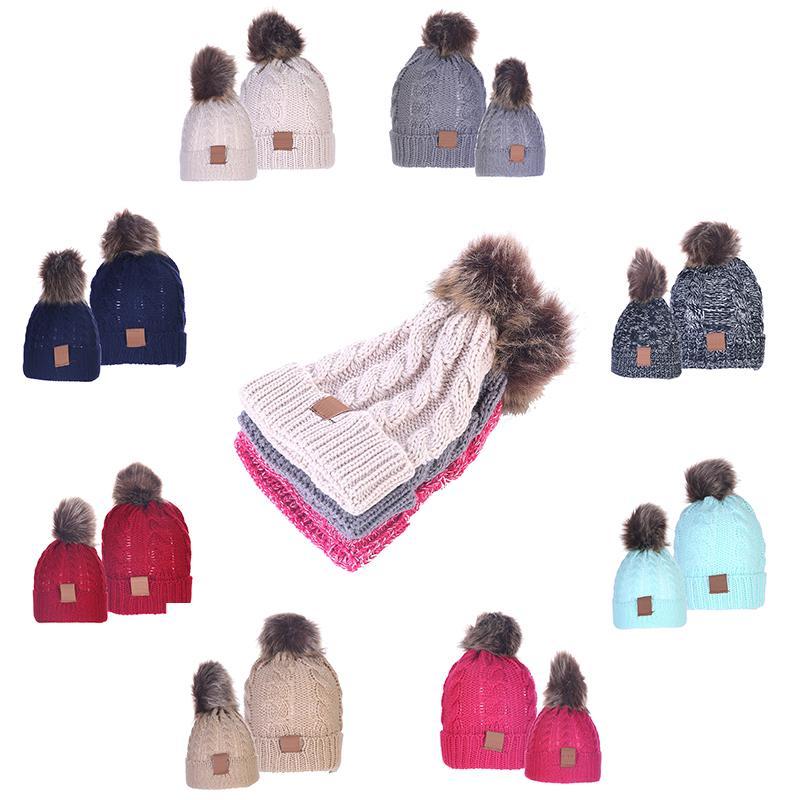 13styles الأم والطفل حك كاب بيني الطفل الأمهات الشتاء محبوك القبعات الدافئة الكروشيه الجماجم قبعات في الهواء الطلق بوم بوم قبعة للرأس RRA2629