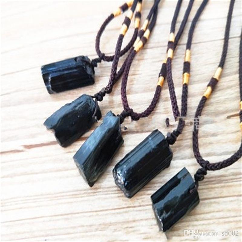 أفضل هدية كريستال الحجر الطبيعي القلائد الإبداعية الأسود جت قلادة ستون المواد الخام قلادة صديق للبيئة 4 5NS H1