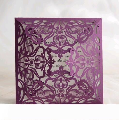 B creux Fleurs Laser Cut Invitations de mariage carré de fiançailles de soirée de mariage Cartes d'invitation de style européen