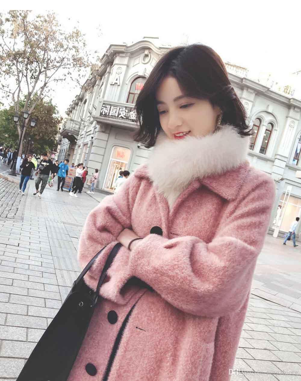 2019 inverno nova mink-like meados de comprimento estilo Hepburn casaco de lã pessoas pequenas casaco de lã das mulheres são populares