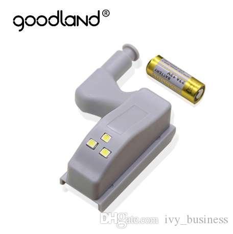 Sensor de luz LED luz de la noche goodland automática Armario luz del gabinete interior de la bisagra de la lámpara con la batería para Armario Armario de cocina