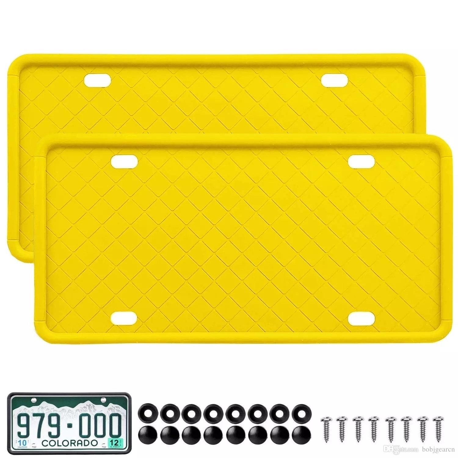 Black Car License Plate Frame Weather-Proof 100/% Street Legal Rattle-Proof Hikig Silicone Car License Plate Frame Rust-Proof