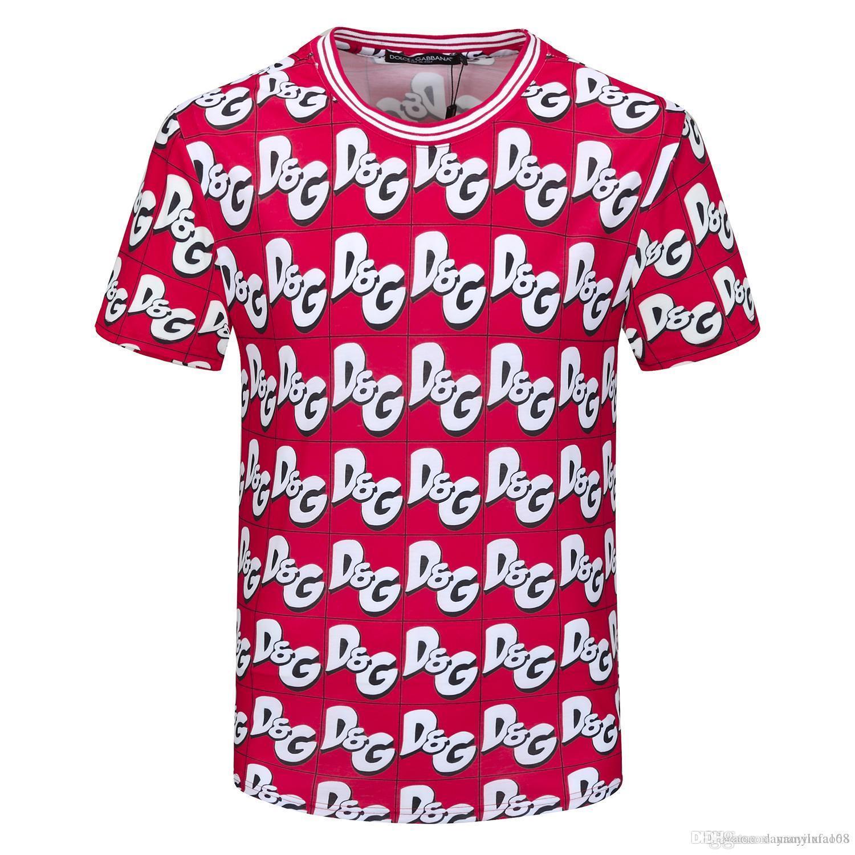 Nueva camiseta de la manera Letra geométrica Camiseta estampada de hombres y mujeres de algodón camisas unisex redondo cuello camiseta ocasional G21 de manga corta