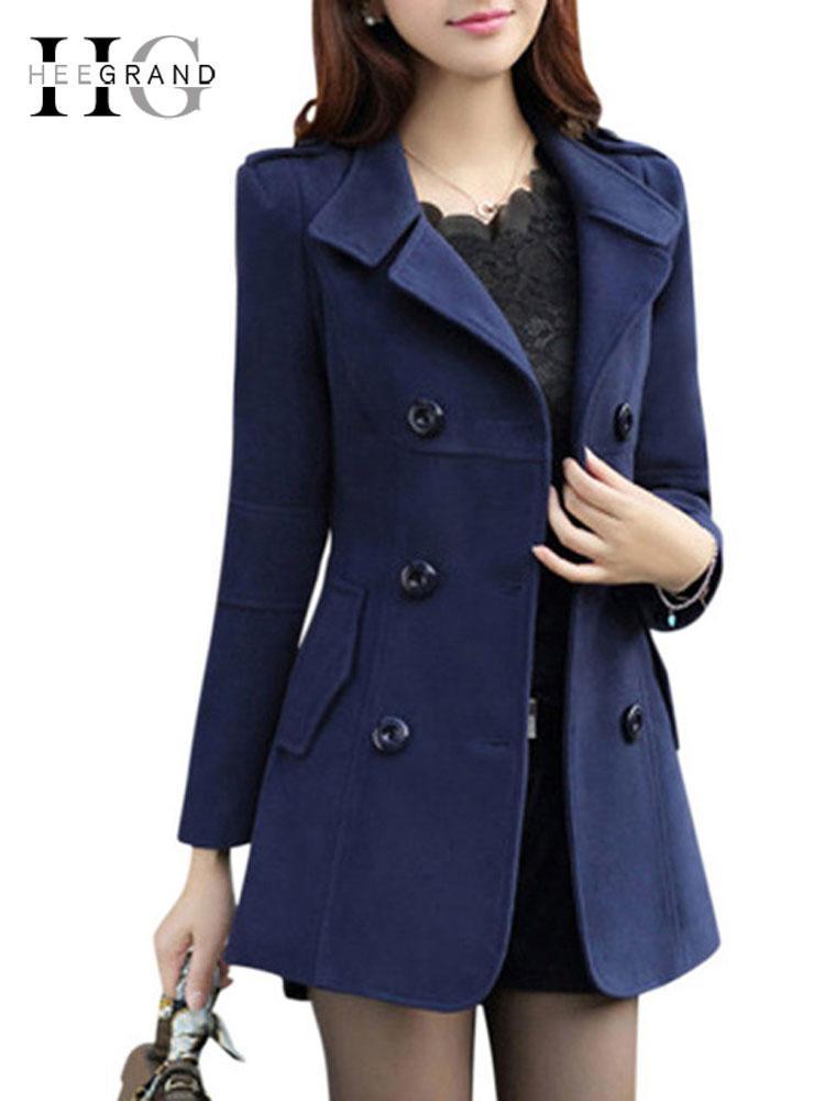 Х GRAND Женщина Spring Trench 2018 плюс размера M-3XL Женщины куртки дама Горох пальто Тонкий Двойной Брестед Смешанное пальто WWN717