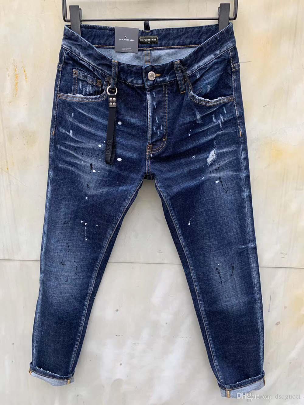 DSQ PHANTOM TURTLE classico della moda uomo Jeans Hip hop Rock Moto Mens disegno casuale jeans strappati Distressed Skinny Denim Jeans Biker DSQ 6961