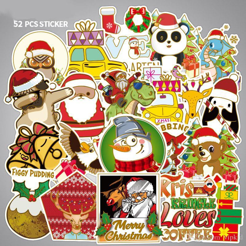 52Pcs Christmas Elk Snowman Santa Claus Dinosaur Stickers Skateboard Suitcase Snowboard Guitar Motorcycle Laptop Sticker Classic Toy B1