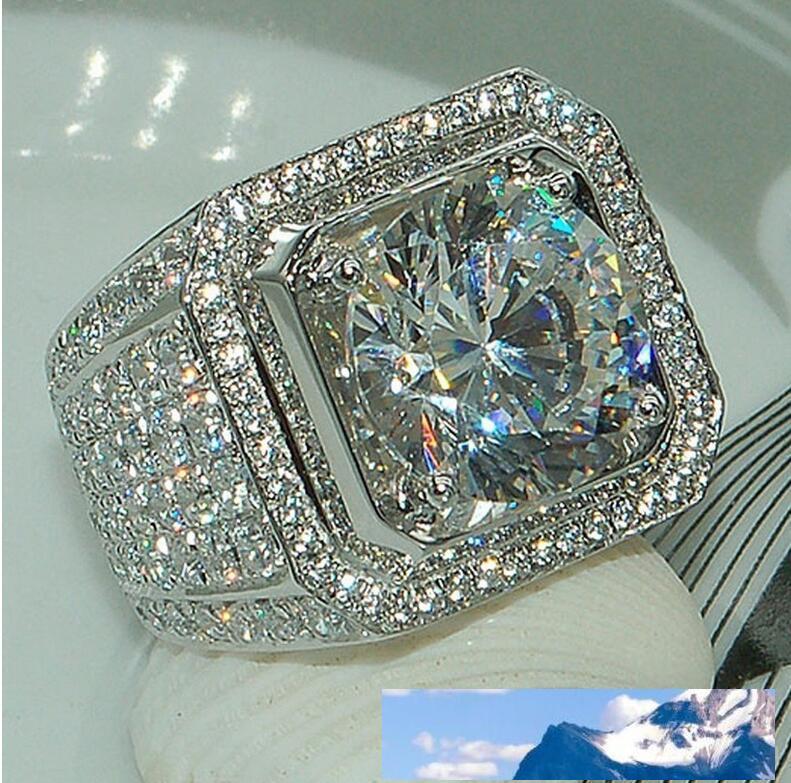 مذهلة رجال أزياء والمجوهرات تمهيد الإعداد الكامل الأبيض الياقوت 925 فضة تشيكوسلوفاكيا الماس الزفاف ذكر الطوق هدية