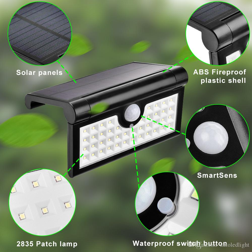 Solar Lamps Outdoor Light Foldable Motion Sensor Wall Lights Super Bright 2W 42LED Waterproof Security Wireless Portable Garden