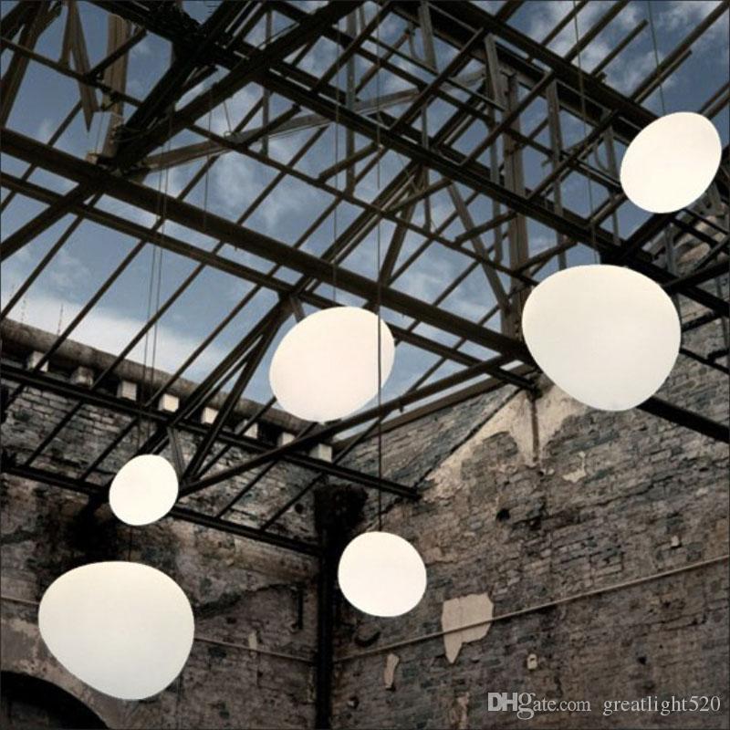 Anomalous Cobblestone Pendant Lamp Milk Glass Chandelier Globe Pendant Lighting Drop Light For Restaurant Cafe Living Room