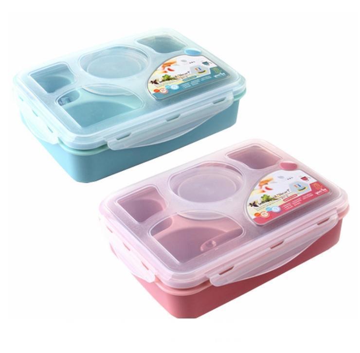 50pcs de microonda fresco de mantenimiento de plástico PP caja de almuerzo y completamente sellados con 5 compartimientos Bento Box con la cucharada de plástico
