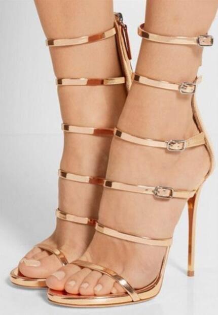 Mode Femmes Sandales Gladiateur Femmes Boucle Occasionnelle Chaussures D'été Femme Talons Hauts Sandales Plus La Taille 35-42 Robe Chaussures Femmes