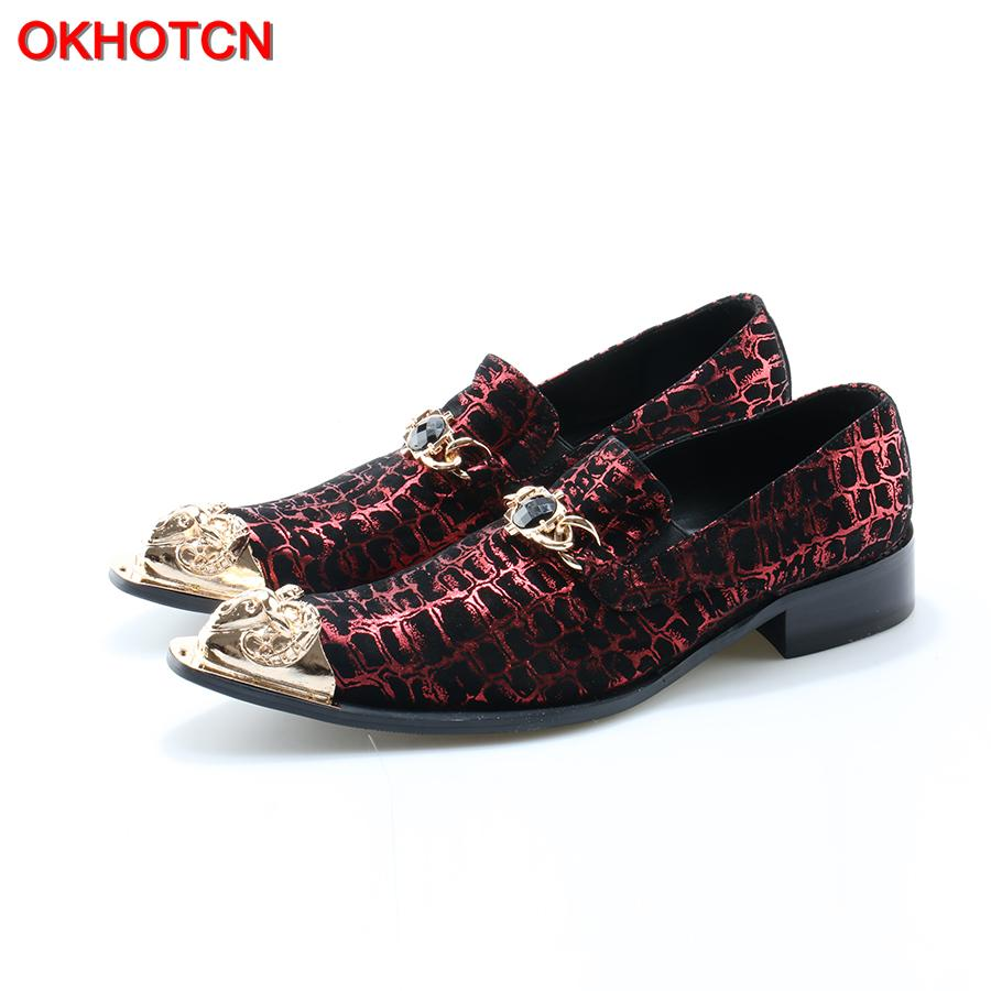 OKHOTCN Chaussure Homme Italian Shoes Men Velet Print Leather Red Wedding Shoes Dress Slippers Metal Pointed Toe Mens Suit