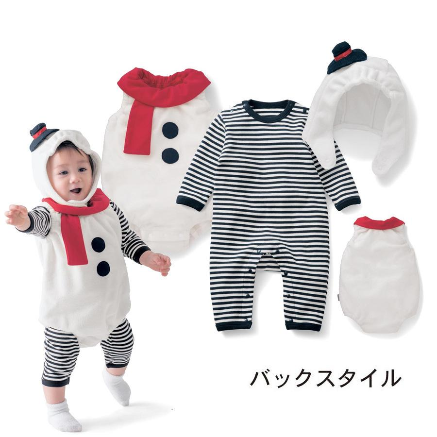 Ropa del bebé de tres piezas de la actuación de papeles fiesta de cumpleaños de Navidad del niño mono del bebé Niños de Navidad muñeco de nieve lindo del mono
