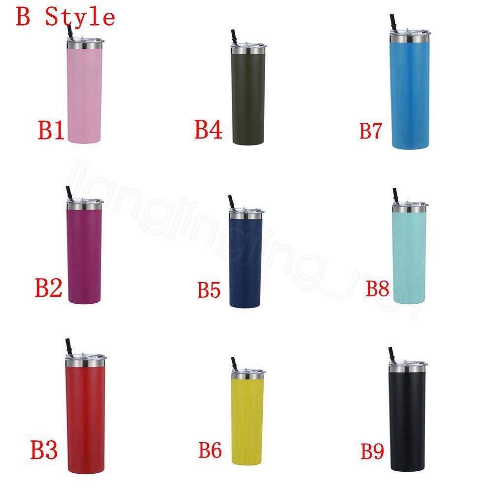 20 oz 600ml sigaretta tazze diritte inossidabile tazze Bicchiere acqua ventose bottiglia parcheggio esterno con colore cannucce FFA4135C coperchio drinkingware
