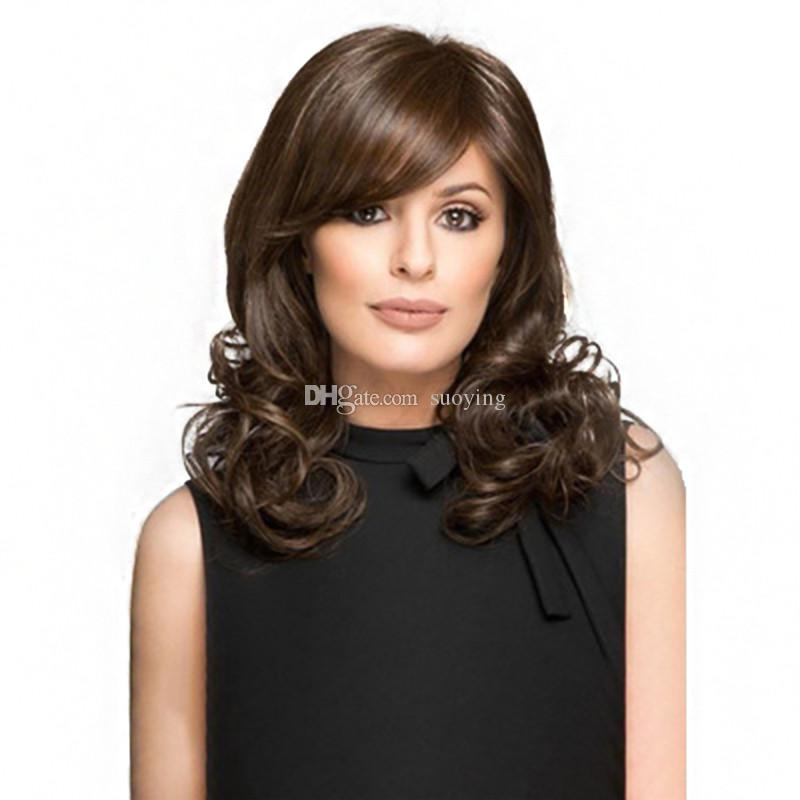 Low prices of synthetic wig with frizzy ends fiber hot types brown look real from China suppliers