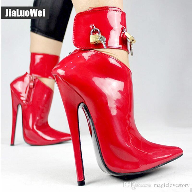"""18 cm / 7 """"Yüksek Topuklu Ayakkabı Kadın Dans Parti Ayakkabı Kilitlenebilir Ayak Bileği Kayışı Kadınlar Seksi Fetiş Ince Topuklu ..."""