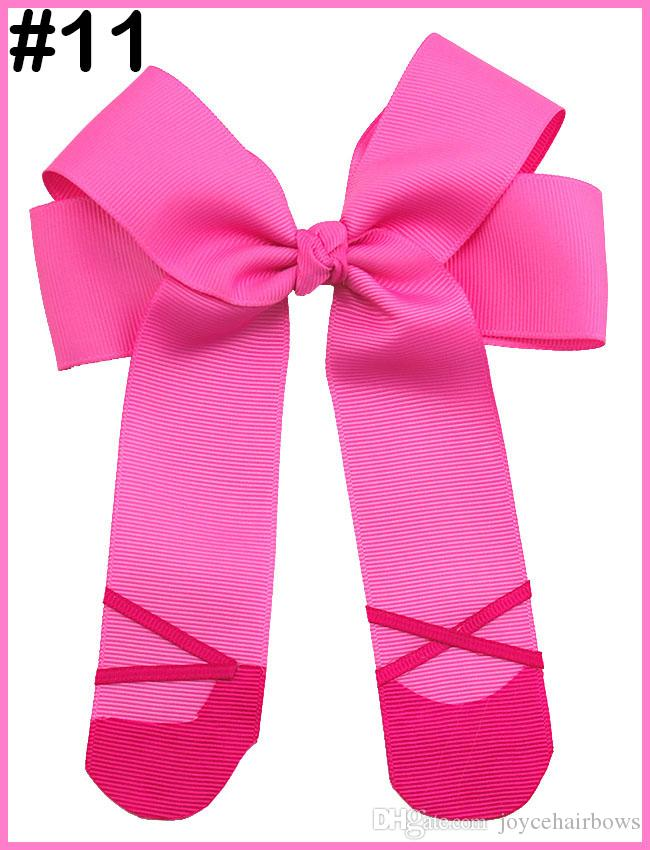 free shipping 12pcs 4.5'' ballet cheerleading hair bows Ballet Shoes Hair Clippies for your Ballerina Ballet Hair Bow