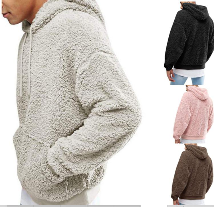 Mens Sherpa Pullover Hoodies Plush Fleece Sweater Autumn Winter Long Sleeve Sweatshirts Teenager Hip Hop Pullover Hooded Tops Clothes sale
