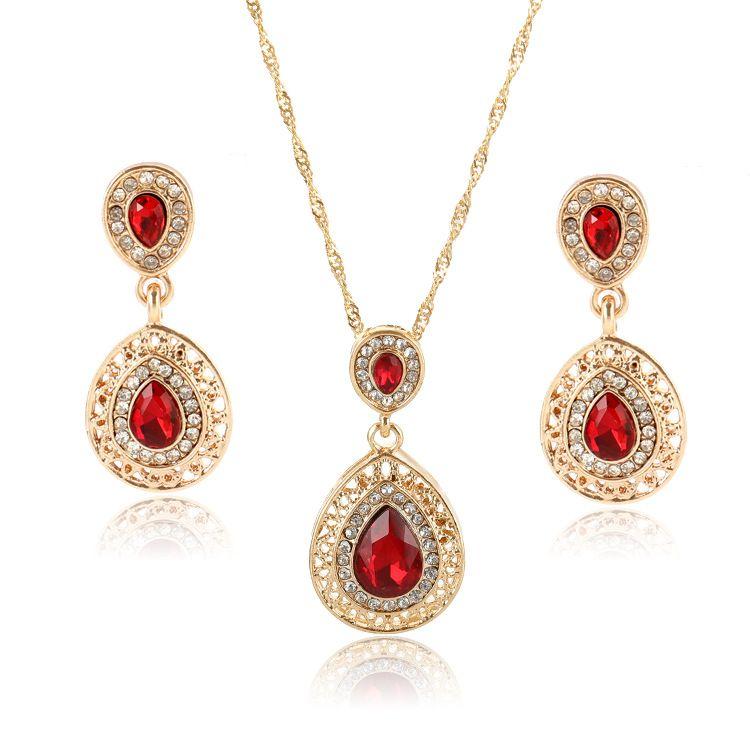 Europa e nos Estados Unidos hot novos brincos colar brincos de cristal conjunto de combinação cair jóias pingente de três peças