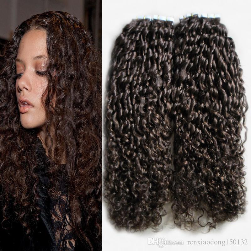 인간의 머리카락 확장에 테이프 100g 헤어 확장에 곱슬 곱슬 한 곱슬 테이프 접착 테이프 레미 인간의 머리 40pcs
