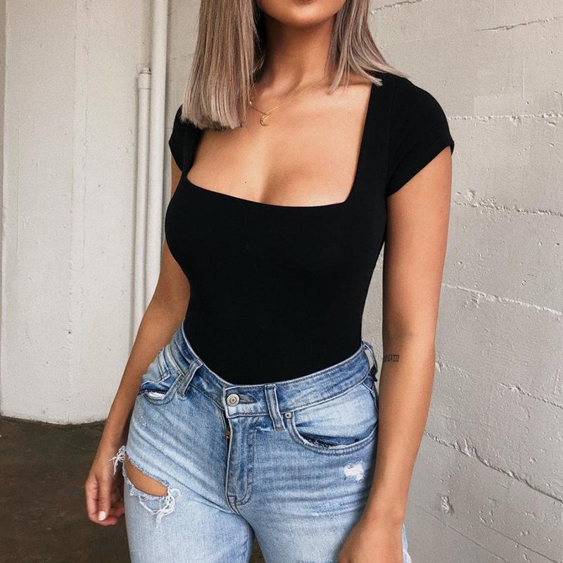 Women's Summer Bodysuit White Red Office Ladies Bodysuit Woman Sexy Short Sleeve Casual Body Tops Playsuit Clubwear Body Suits