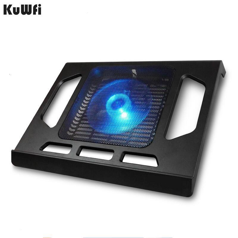 Laptop Tablet Pc Notebook Için Soğutma Pedi Aşağıda 15 Inç Soğutucu Pad Laptop Tek Fan Ile Soğutma 2 Mavi Led Ergonoimice Tasarım T190904