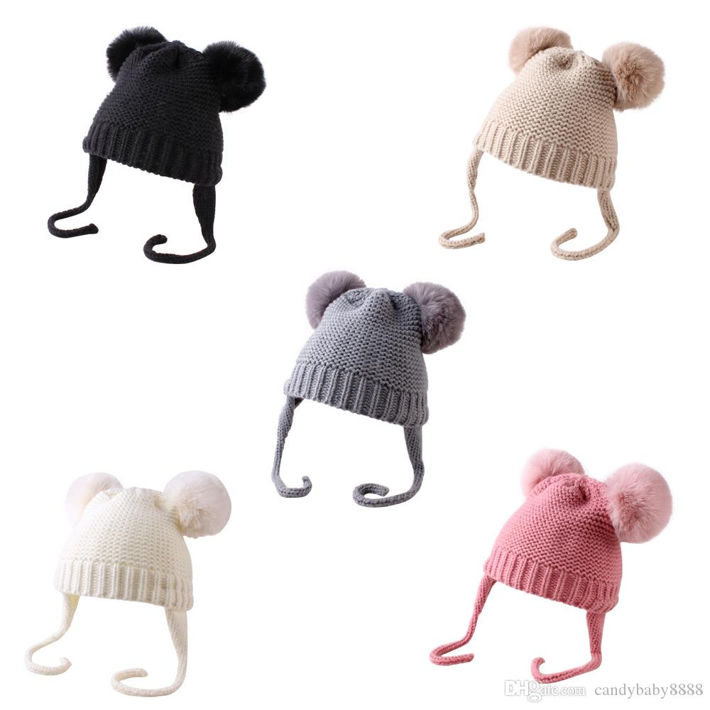 Детские вязаные шерстяные шапки из искусственного меха мяч POM POM вязание крючком колпачки мода зима теплые младенческие дети мальчики девушки шансы шансы 5 цветов C1363
