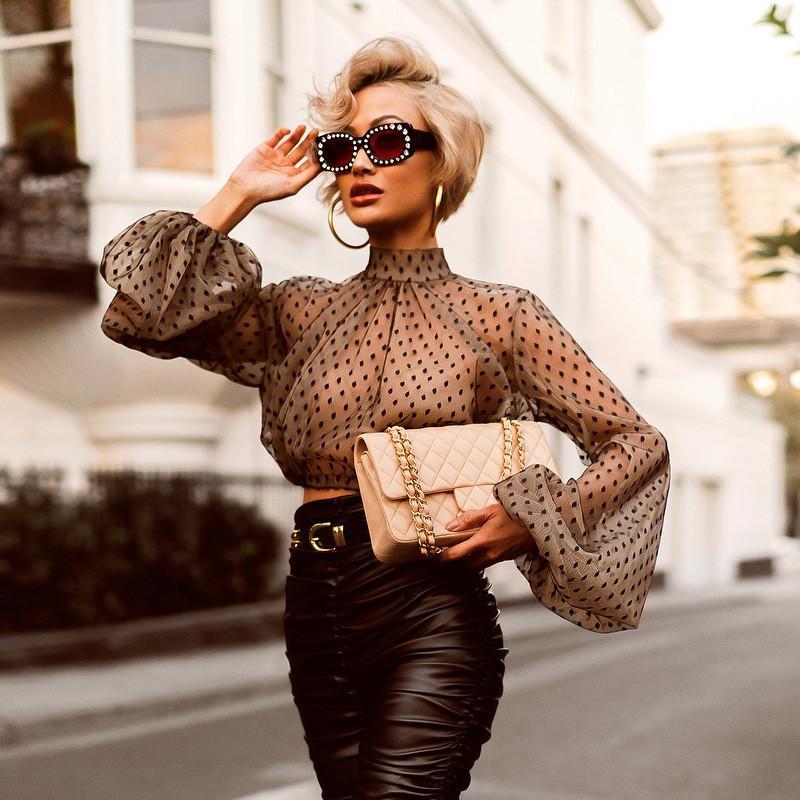 Mode à pois maille femmes T-shirts manches lanterne sexy perspective Tops pour la mode féminine courte Lady Apparel SDQ8