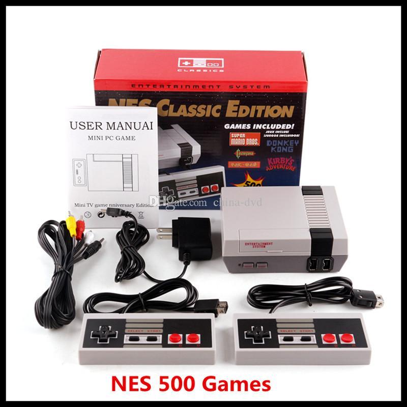 وحدة التحكم الفيديو المحمولة لعبة كلاسيكية TV أحدث نظام الترفيه الألعاب الكلاسيكية على 500 طبعة جديدة نموذج NES البسيطة أنظمة تشغيل دي إتش إل الحرة
