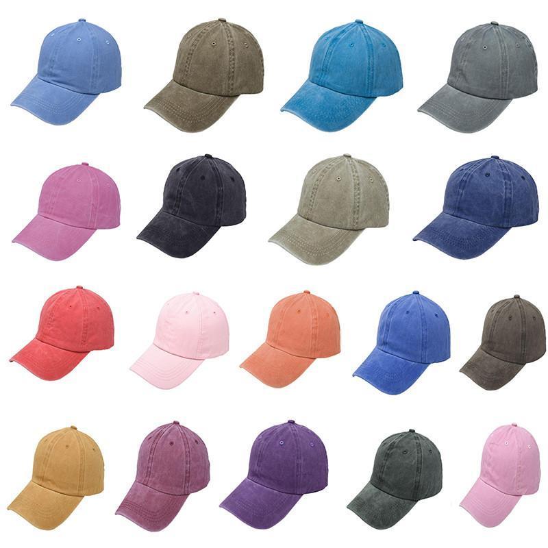 Boné de beisebol Unisex Cor lisa Washed Hat Cotton ajustável ao ar livre Verão Sports camionista Snapback Chapéus DDA102