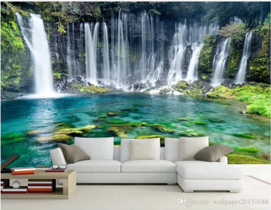 oturma odası için yeşil manzara basit güzel bir şelale arka plan duvar kağıdı, modern