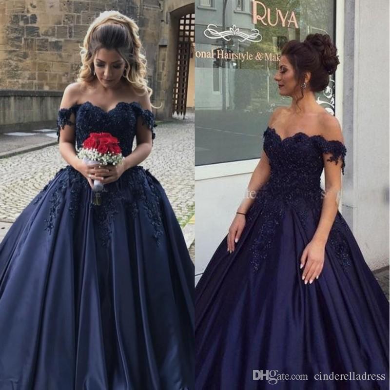 Schulterfrei Ballkleid Quinceanera Kleider 2019 Vintage Applique Spitze Perlen Satin Lange Abendkleider 16 Süß