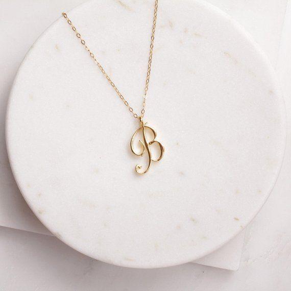 Petit Swirl lettre initiale Alphabet Collier Tous les 26 Anglais Argent A-T Cursive luxe Monogram Nom Lettre mot chaîne Colliers pour Lovers